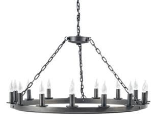 FERRIS 40 CHANDELIER WITH BLACKENED FINISH